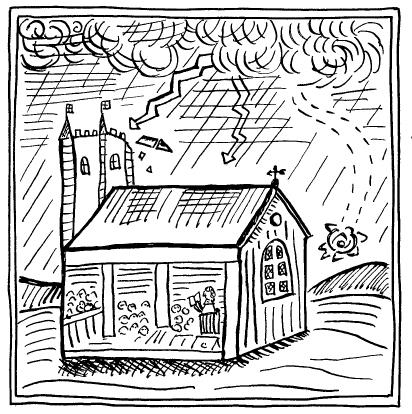 Church in storm